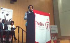 Agang's Dr Mamphela Ramphele delivers her key address at the graduation ceremony of Tertiary Sh