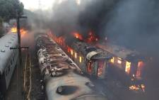 Twenty-four train carriages have been burnt at a railway station in Bloemfontein. Picture: Arrive Alive.