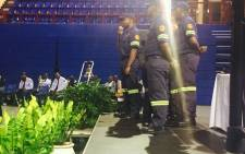 FILE: Colleagues of two firefighters, Michael Letsosa and Daniel Zwane, who died in a burning building in the Johannesburg CBD, pay tribute to them. Picture: Dineo Bendile/EWN Picture: Dineo Bendile/EWN