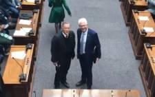 Western Cape Premier Alan Winde and ANC MPL Cameron Dugmore. Picture: EWN.