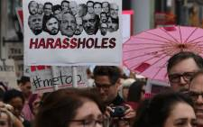 Victims of sexual harassment, sexual assault, sexual abuse and their supporters protest during a #MeToo march in Hollywood, California on 12 November 2017. Picture: AFP