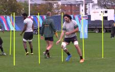 Legendary Bok lock Victor Matfield is put through his paces during training ahead of the RWC semifinal against New Zealand. Picture: Vumani Mkhize/EWN.