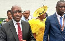 KwaZulu-Natal premier Willies Mchunu greets the media as he arrives at the Royal Showgrounds in Pietermaritzburg following a visit at a hospital after he fainted during his State of the Province Address. Picture: @kzngov/Twitter.