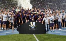 Barcelona celebrate their Spanish Super Cup victory over Sevilla on 12 August 2018. Picture: @FCBarcelona/Twitter