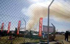Smoke can be seen after an L-39 Albatross crashed at the Kelrksdrop air show on 30 June 2012. Picture via twitter @cptweather