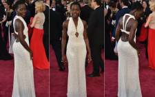 Actress Lupita Nyong'o poses on the red carpet at the 87th Oscars on 22 February 2015 in Hollywood, California. Picture: AFP.