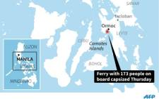Map locating Ormoc in the Philippines, where a ferry one kilometre from port capsized with 173 people on board Thursday. Source: AFP.