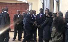 Cyril Ramaphosa arrived at the home of Zola Skweyiya on Thursday 12 April 2018. Picture: Clement Manyathela/EWN