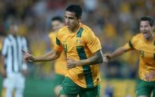 Tim Cahill (C) and his Australian teammates arrived in Brazil on Wednesday. Picture: AFP