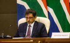 Minister of Trade and Industry Ebrahim Patel at an inter-ministerial briefing on 24 March 2020 detailing how government will respond ahead of and during the 21-day lockdown announced by President Cyril Ramaphosa. Picture: Kayleen Morgan/EWN.