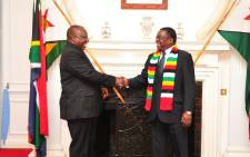President Cyril Ramaphosa meets his Zimbabwean counterpart Emmerson Mnangagwa ahead of talks on 12 March 2019. Picture: @Edmnangagwa/Twitter