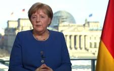 This videograb taken from German TV channel ARD on 18 March 2020 shows German Chancellor Angela Merkel addressing the nation on the spread of the new coronavirus COVID-19 at the Chancellery in Berlin. Picture: AFP