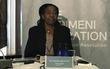 Former CEO of Siyabadinga Dianne Noyile at the Esidimeni arbitration hearings. Picture: Masego Rahlaga/EWN