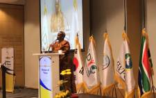 Her Majesty Dr Semane Molotlegi speaking at the African Leaders Peace summit in Cape Town. Picture: Kaylynn Palm/EWN.