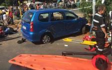 Sixteen school children injured in a collision near Corlett Drive. Picture: Twitter @EMER_G_MED.
