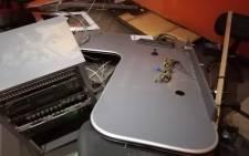 Equipment in the Westside FM studio in Alexandra was vandalised on 12 July 2021. Picture: @Goodhop32592572/Twitter