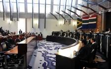 A panel of judges sit in as Chief Justice Mogoeng Mogoeng delivers a judgment on the Nkandla spending saga on 31 March 2016. Picture: Pool