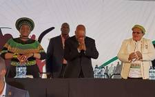 ANCWL President Bathabile Dlamini (L) and President Jacob Zuma (C) at the Women's Day celebrations in Galeshewe, Kimberley in the Northern Cape. Picture: @GovernmentZA.