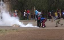 Vaal University of Technology students clashed with police on Thursday.Picture: Kgothatso Mogale/EWN