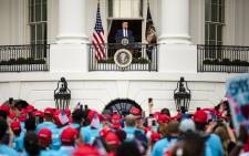 US President Donald Trump addresses a rally in support of law and order on the South Lawn of the White House on 10 October 2020 in Washington, DC. Trump invited over 2,000 guests to hear him speak just a week after he was hospitalised for COVID-19. Picture: AFP