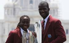 Stafanie Taylor and Darren Sammy at the Victoria Memorial. Picture: ICC.