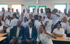 Cape Town Mayor Dan Plato and US activist Forest Whitaker are pictured with young peacemakers in Cape Town on 14 November 2019. Picture: @connectWPDI/Twitter