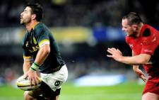 Springbok wing Willie le Roux (L) gets ready to pass the ball during the Rugby test match between South Africa and Wales at Kings Park, Durban, 14 June 2014. Picture: AFP.