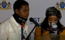 The children of late kwaito star Mojalefa 'Mjokes' Matsane pay tribute to their father at his funeral on Saturday, 29 May 2021. Picture: Screengrab
