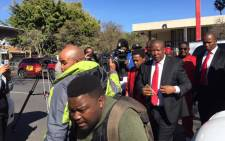 Julius Malema arriving in Polokwane Magistrate Court ahead of his fraud and corruption trial on 4 August 2015. Picture: Gia Nicolaides/EW.