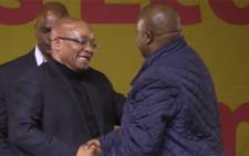 President Jacob Zuma shaking hands with new youth league president Collen Maine. Picture: Kgothatso Mogale/EWN