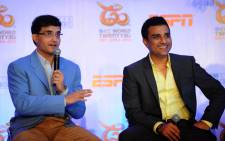 FILE: Former Indian cricketers and commentators for the upcoming World Twenty20 world cup, Sourav Ganguly (L) and Sanjay Manjrekar speak at a press conference in New Delhi on 28 August 2012. Picture: AFP