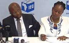 A screengrab of the IEC briefing the media in Sandton on 9 April 2019.