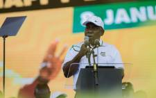 President Cyril Ramaphosa addresses ANC supporters during the party's 108th birthday celebrations in the Northern Cape. Picture: Sethembiso Zulu/EWN.