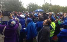 A group of George residents today braved the cold weather and rain for the DA's pre-election rally in the Garden Route. Picture: Shamiela Fisher/ EWN.