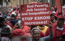 Workers affiliated to different trade unions marched in Pretoria from Burgerspark to the Treasury in Pretoria on 7 October 2020. Picture: Abigail Javier/EWN