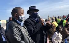 Police Minister Bheki Cele in Khayelitsha on Saturday 4 July 2020 where he met with Bulelani Qholani, who was dragged out of his home without clothes during an eviction by CoCT officials. Picture: Lirandzu Temba/Twitter