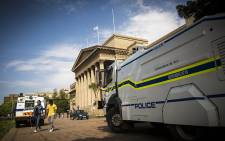 A police water canon stands guard on Wits University campus. Picture: Thomas Holder/EWN