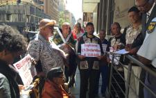 Khoi & San people handing over a memorandum of grievances to Premier's office in Johannesburg CBD. Picture: Emily Corke/EWN