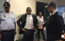 Police Minister Fikile Mbalula arrives at the SAPS 10111call centre in Midrand. It's a surprise visit. Picture:  Masego Rahlaga/EWN.