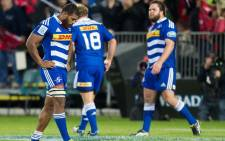 FILE: Nizaam Carr (L) Pat Cilliers (C) and Frans Malherbe of the Stormers. Picture: AFP