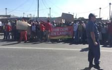 Protesters have been refused entry to the Khayelitsha Stadium for a ministerial imbizo. Picture: Siyabonga Sesant/EWN.