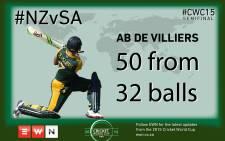 50 up for AB de Villiers.  Picture: EWN