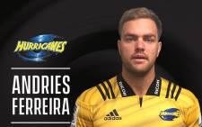 South African lock Andries Ferreira. Picture: @Hurricanesrugby/Twitter