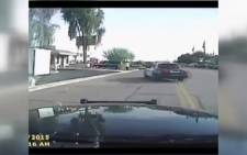 A dashcam caught the moment police in Arizona ran over a suspect, on camera. Picture: CNN