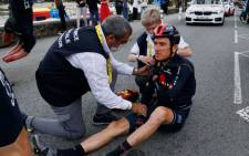 Ineos leader Geraint Thomas dislocated his right shoulder in a hard fall on the third stage of the Tour de France on 28 June 2021 Picture: @cyclingweekly/Twitter