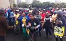ANC supporters marching to the office of the Western Cape Legislature in Cape Town on 26 March 2014. Picture: Graeme Raubenheimer/EWN.