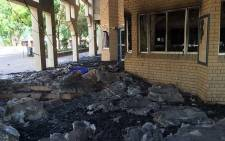 """The science centre and the administration block at the North West University have been destroyed by a fire during a violent demonstration at the institution on Wednesday night. Picture: Vumani Mkhize/EWN"""""""