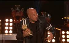 A screengrab shows 'Fast and Furious' star Vin Diesel making his speech during MTV Movie and TV awards on 7 May 2017. Picture: youtube.com