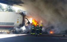 A man has been burned beyond recognition after the truck he was driving burst into flames when he crashed into a bridge on the N1, near Joostenberg Vlakte. Picture: Twitter/@Netcare911_sa
