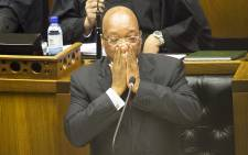 President Jacob Zuma answers questions in Parliament. Picture: Thomas Holder/EWN